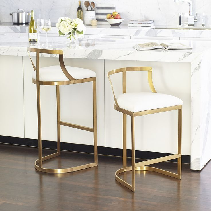 Kitchen Bar Stool With Black Top And White Legs
