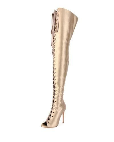 b7507f909ed GIANVITO ROSSI Marie Satin Lace-Up 105Mm Over-The-Knee Boot