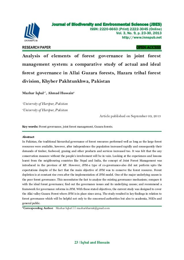 Analysis Of Elements Of Forest Governance In Joint Forest