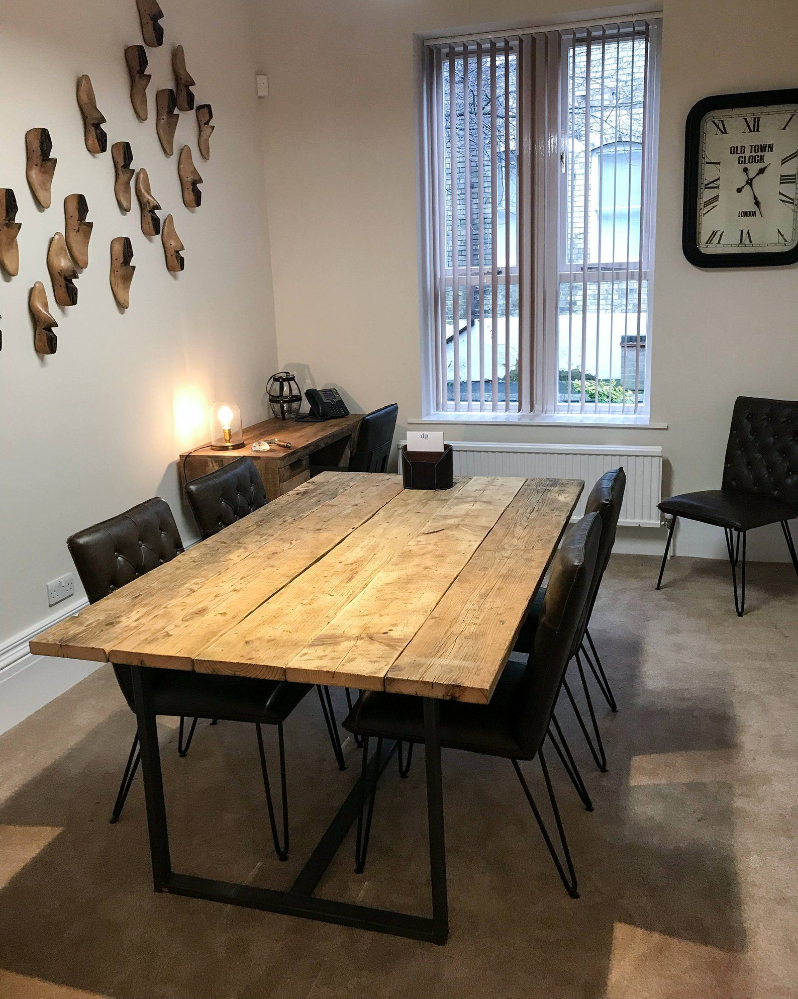 Meeting Room Rustic Table Made From Scaffold Boards Steel Etsy In 2020 Rustic Table Dining Table Table