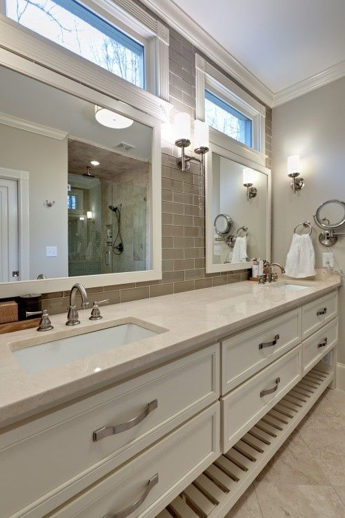 Double Sinks Windows Above The Mirrors Traditional Bathroom