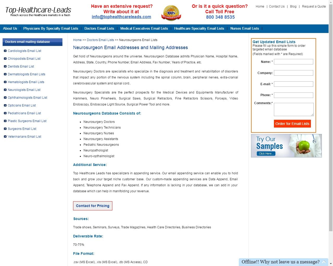 Get Best Verified Samples Of Neurosurgeon Database From Top