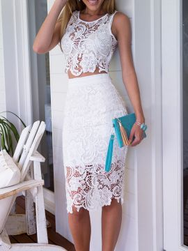 Shop White Crochet Lace Sleeveless Crop Top And Midi Pencil Skirt from  choies.com .Free shipping Worldwide. 28.49 8fdc53416f77
