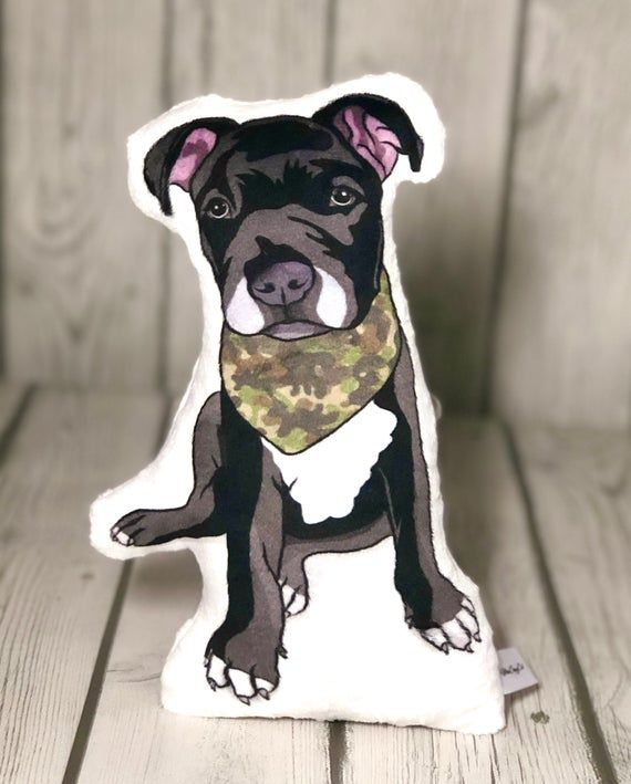 Pitbull Plush Pillow, Cute Dog Shaped Pillow, Dog's with Bandanas, Puppy Dog, Pitbull Mom Gift, Dog Owner Gift Idea, Pitbull Decor for Kids