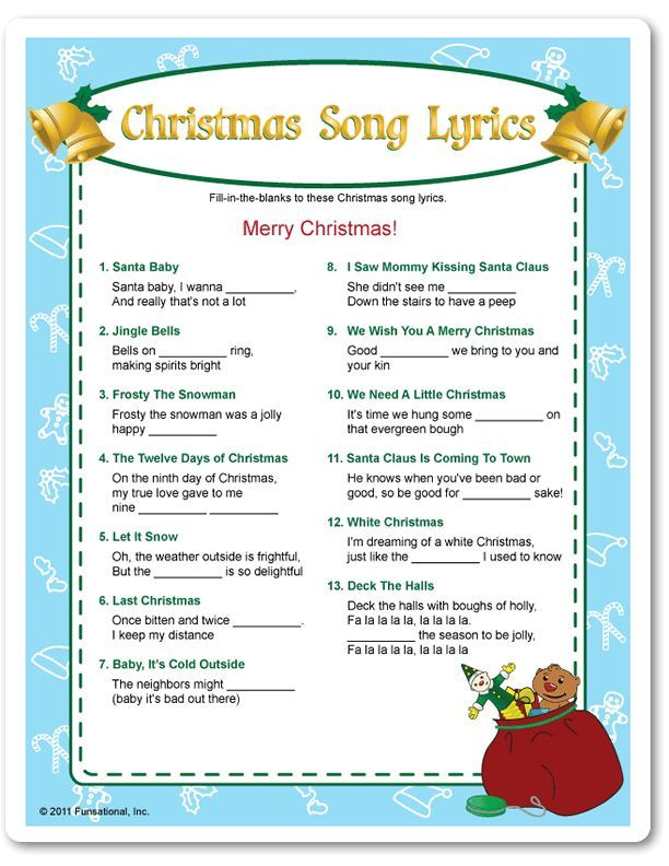Office Christmas Party Game Ideas Part - 35: Printable Christmas Song Lyrics - Funsational.com