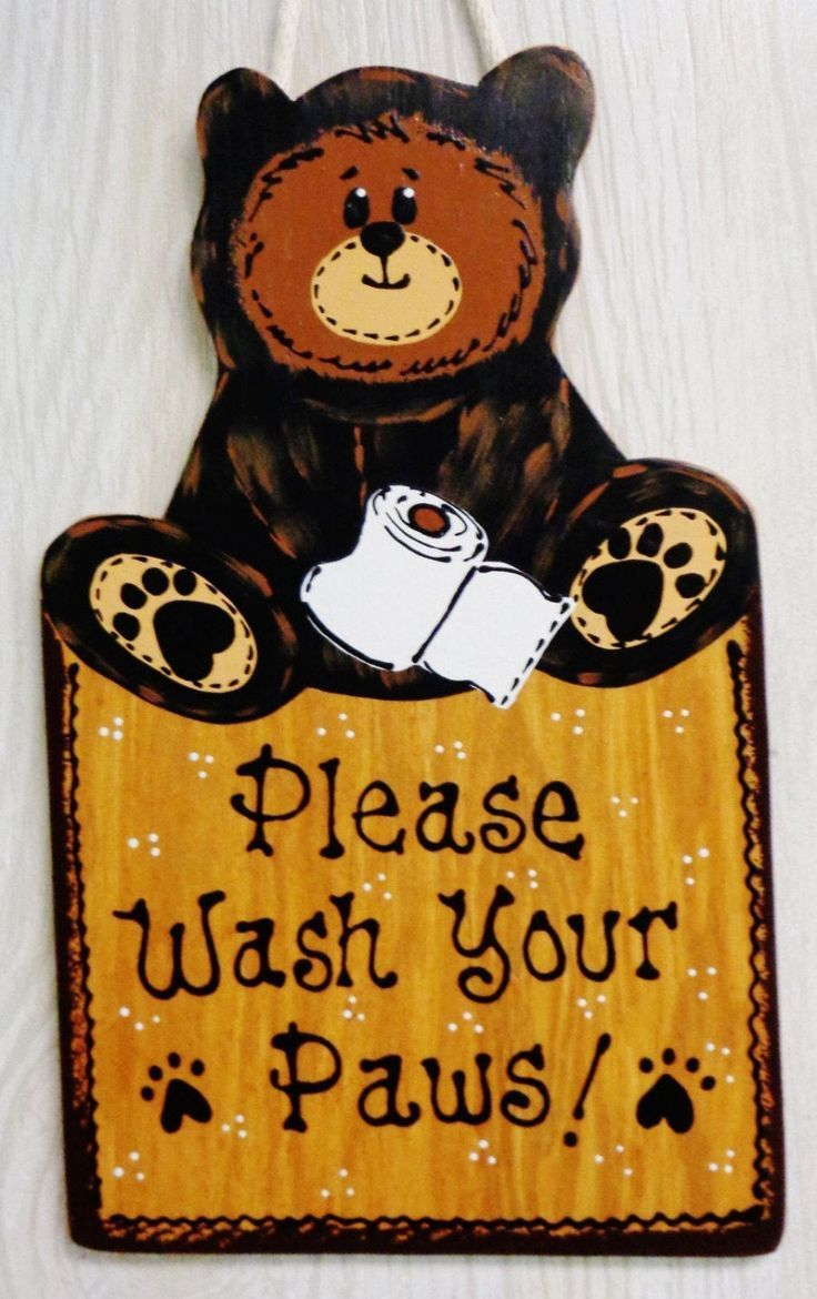 Photo of BEAR Please Wash Your Paws SIGN Rustic Bath Bathroom Country Wood Plaque Handcrafted Handpain…