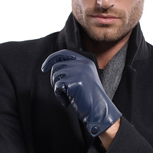 Warm Touchscreen Texting Faux Leather Mens Gloves Fleece Lining Gift Wrapped