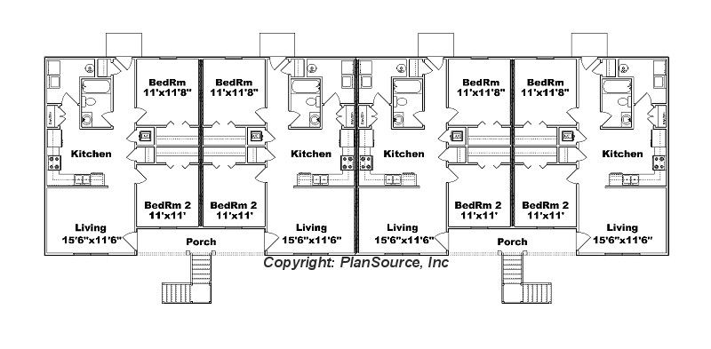 8 Unit Apartment Plan J778 8 Apartment Plans Small Apartment Building Plans Apartment Floor Plans