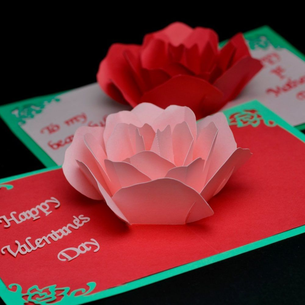 Rose Flower Pop Up Card Template With Images Pop Up Card