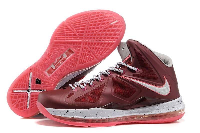 Nike LeBron X 10 Bordeaux Wolf Grey Fireberry Metallic Gold Style 542244  600 Release Onlin