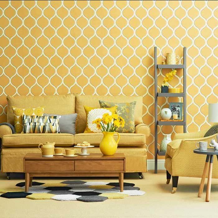 Wohnzimmer tapeten design geometrisch muster in gelb dekor für ...