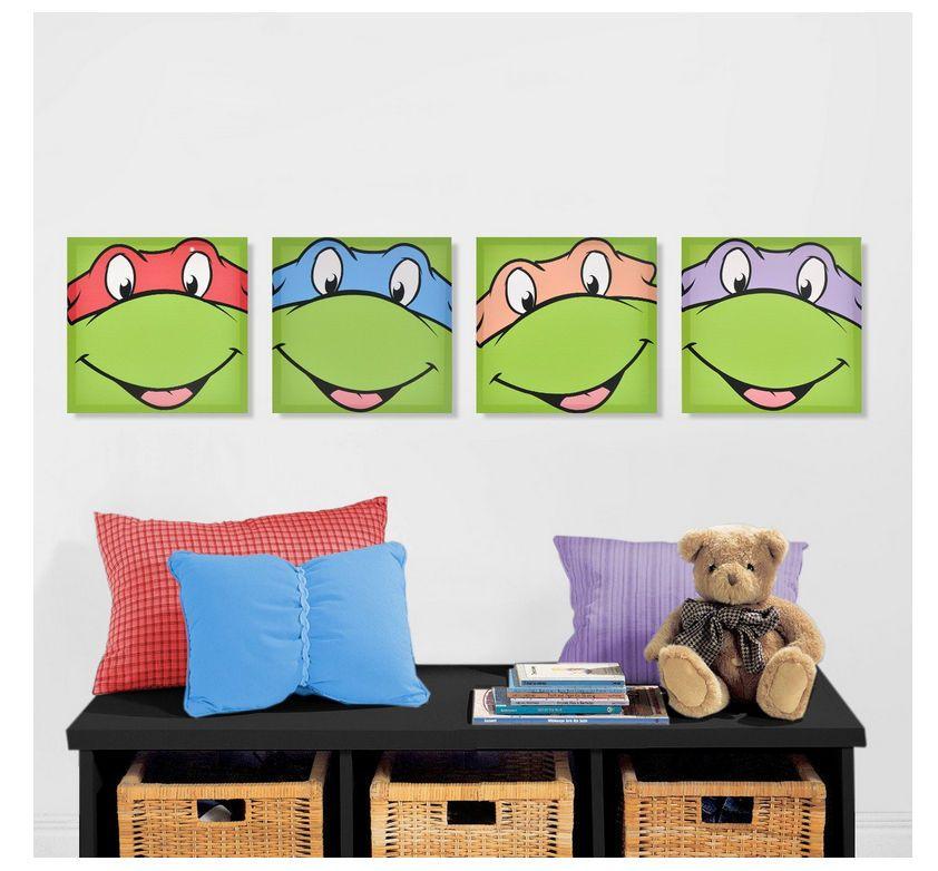 Nickelodeon Teenage Mutant Ninja Turtles Canvas Wall Art 4 Piece Teenage Mutant Ninja Turtles Canvas Ninja Turtle Bedroom Ninja Turtle Room