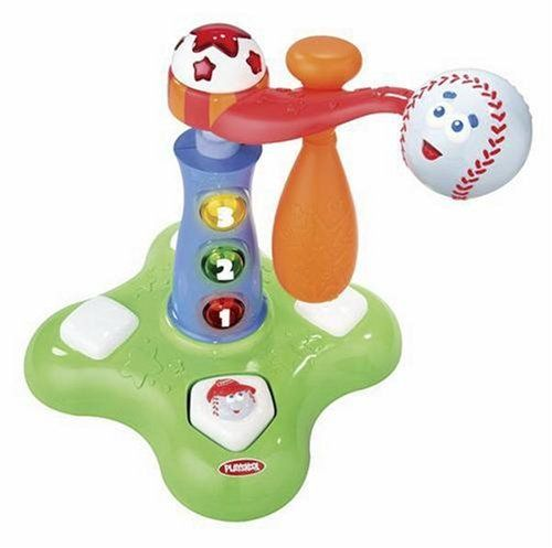 """Playskool Swing 'N Score Baseball by Hasbro. $29.90. Sing along to the music of """"Take Me Out to the Ballgame"""" as bright lights flash with every hit. Perfect for building large motor skills and refining depth perception. A unique baseball toy just for toddlers!. Every time your baby swats the spinning ball, sound effects bring the game to life. The swinging arm is height-adjustable to grow with your little slugger. From the Manufacturer                A unique baseball toy just ..."""
