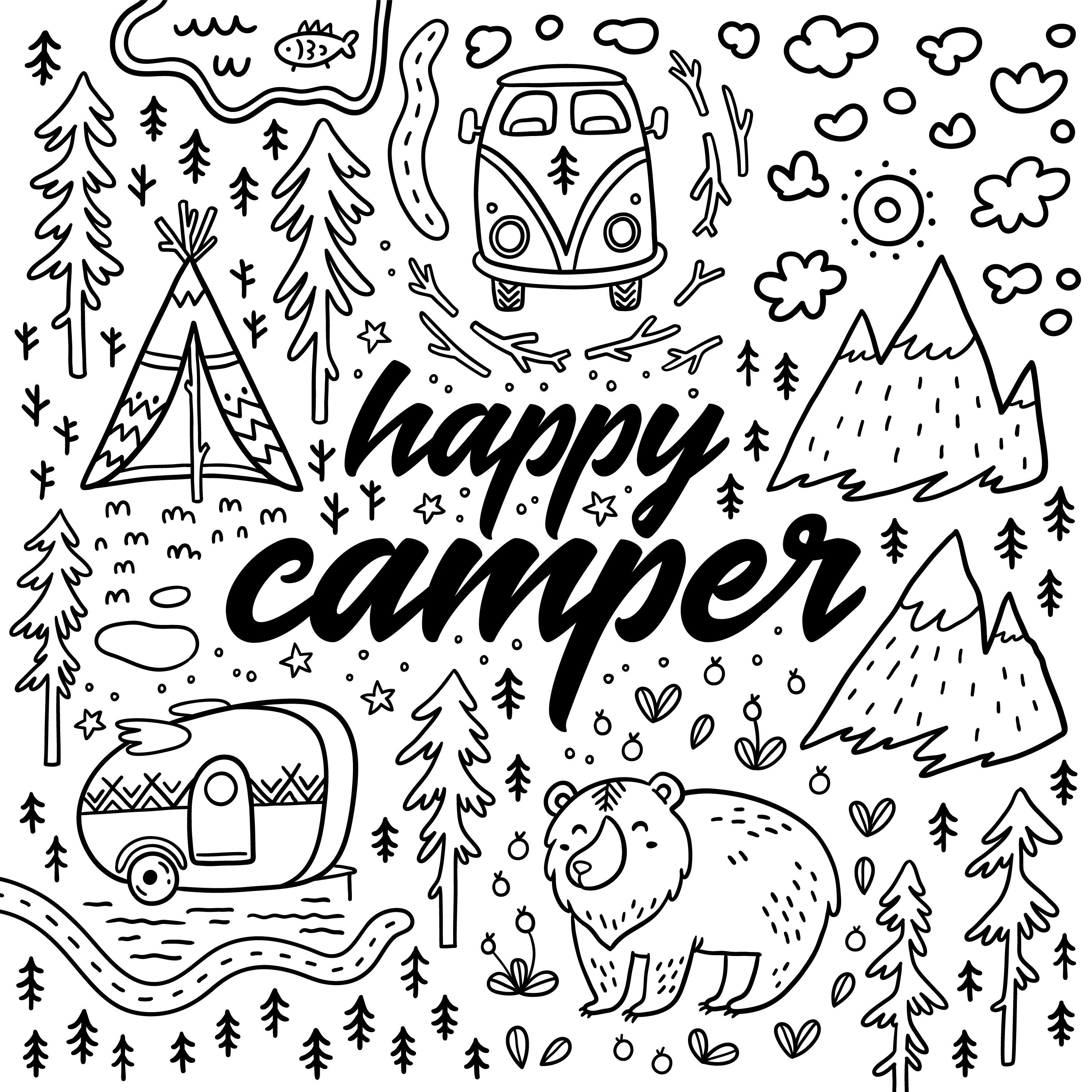 Image Result For Happy Camper Coloring Pages With Images