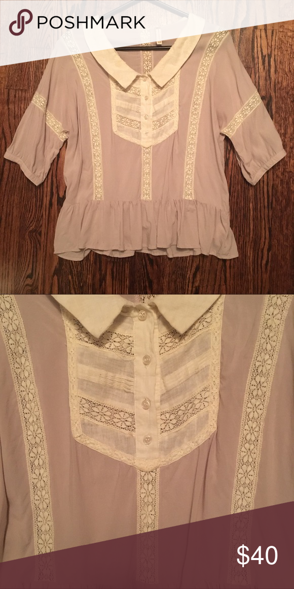 FP flowy baby doll button up in blush