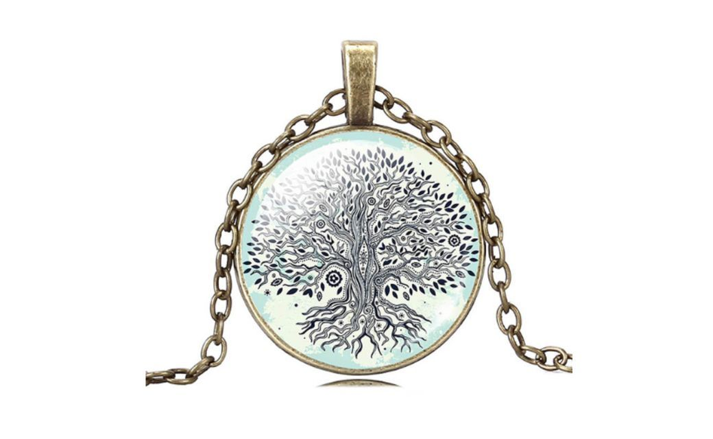 Vintage Bronze The Tree Of life Dome Glass Pendant Women Necklace