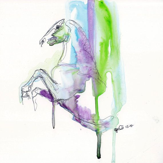 Equine Nude 53 - Ballpoint Pen and watercolor Horse Painting