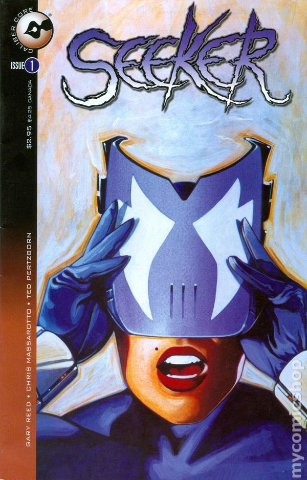 This run of Seeker by Caliber was written by Gary Reed and edited by me. Based on a character created by Yours Truly back in the early '90s. I believe this cover was painted by Greg Loudon. I've always liked the iconographic quality.     I wish this series had enjoyed a longer run.