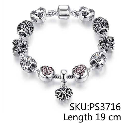 European Silver Plated Heart Beads Charm Bracelet /& Bangle with Charms for Women