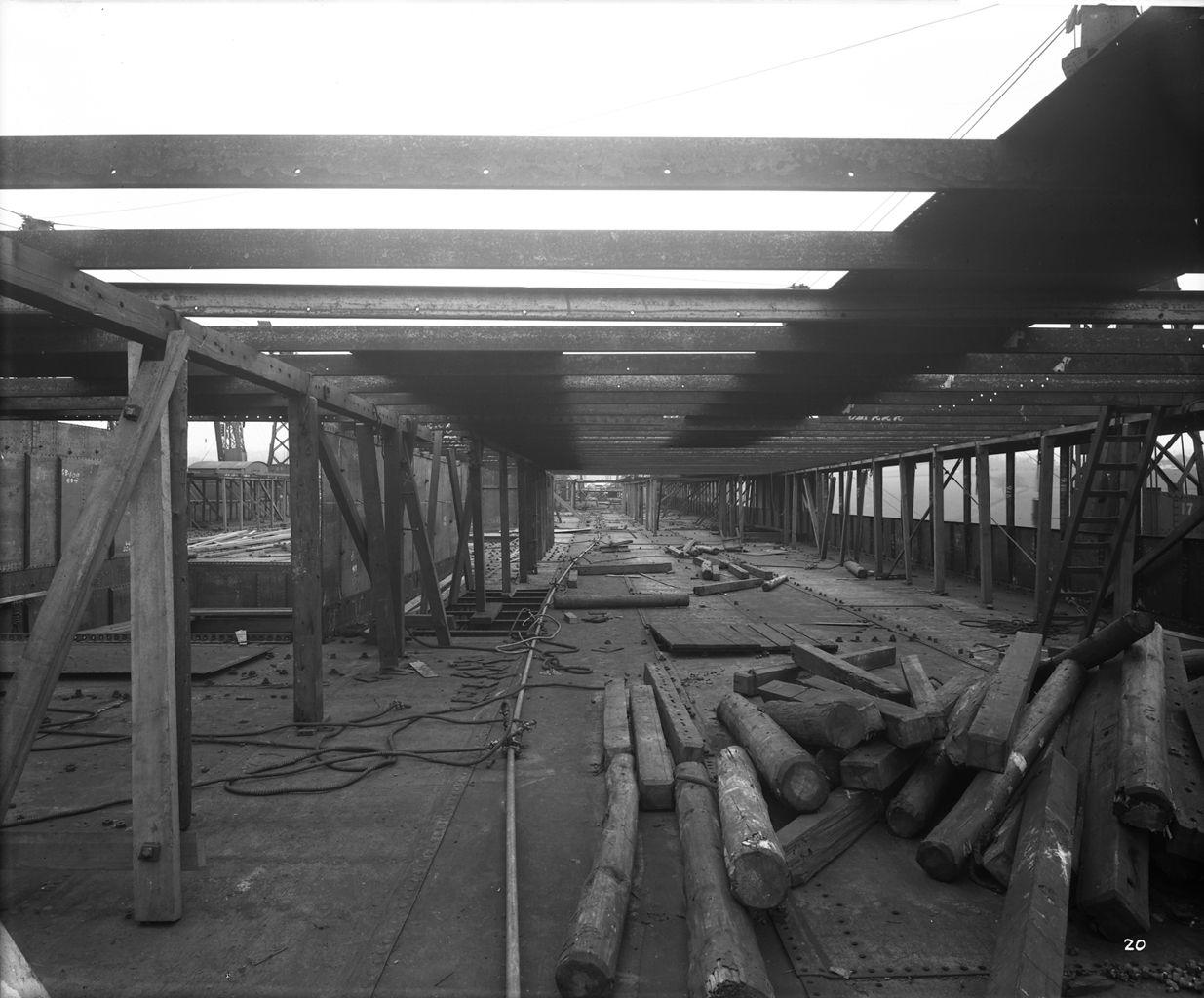 Promenade Deck of the 'Aquitania' (1914) during