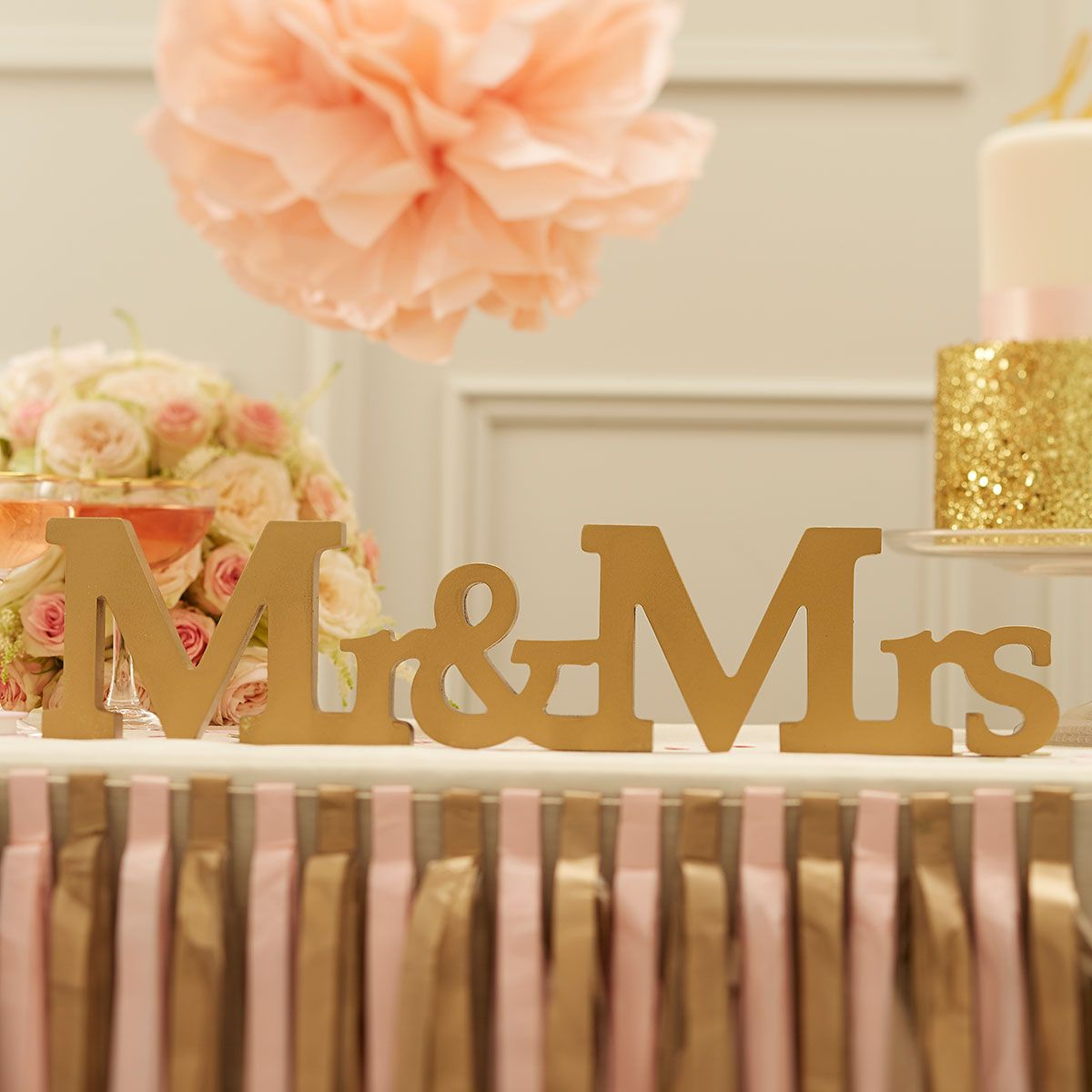 Pastel Perfection Gold Mr Mrs Wooden Sign Wedding Themepink