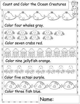 Ocean Math, Ocean Animals, Math Worksheets, Ocean Theme, or Ocean ...