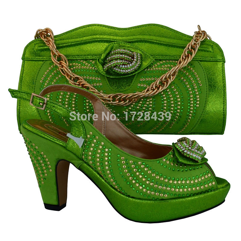 68.25$  Buy here - http://alid74.worldwells.pw/go.php?t=32788264685 - newest African Women Bags And Shoes For Wedding Heels Good Quality Italian Shoes With Rhinestones, EMF715-21 68.25$