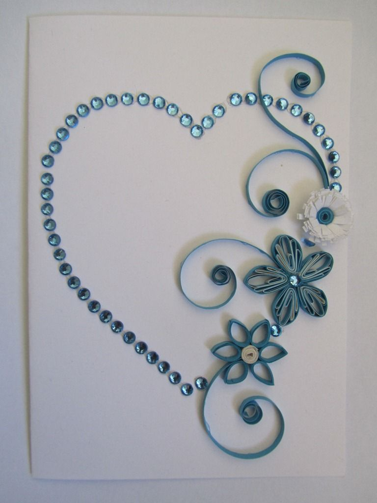 Quilling heart with flowers blue quilling ideas by for Quilling heart designs