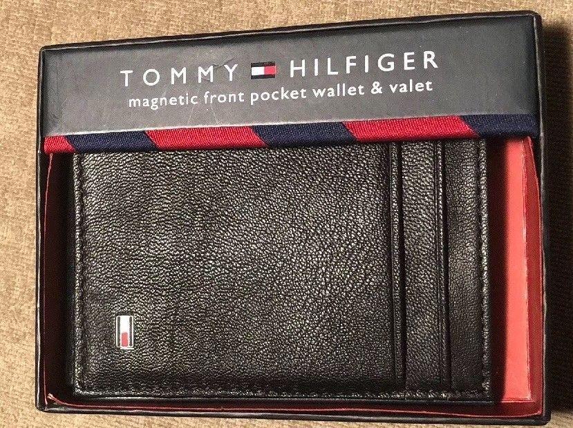 Tommy Hilfiger Men/'s Leather Magnetic Front Pocket Credit Card Slim Wallet Black