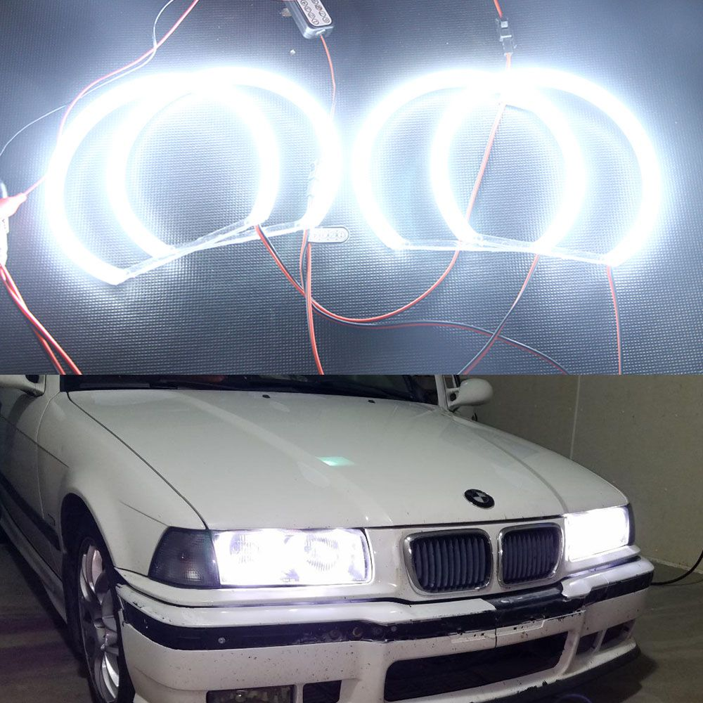 4x131mm White Car Halo Rings Angel Eyes Headlights Canbus
