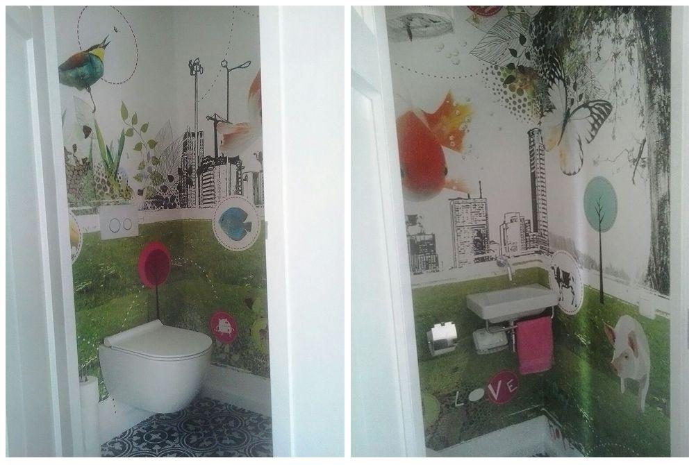 Behang Voor Toilet : Behang feliz hip behang op maat gemaakt voor een toilet