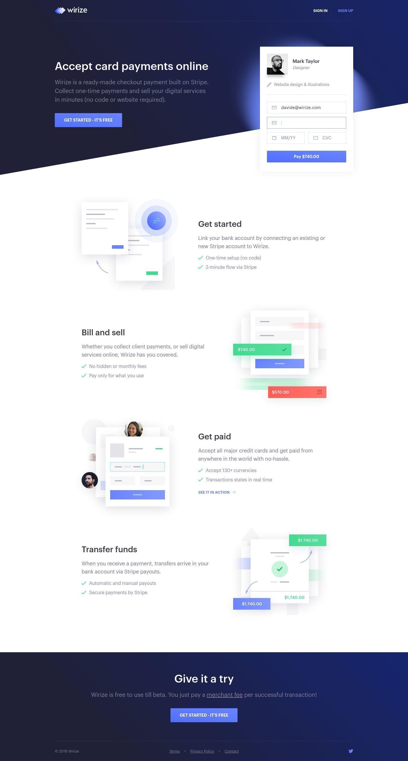 Wirize Landing Page Design Landing Page Design Web Design Web Design Inspiration