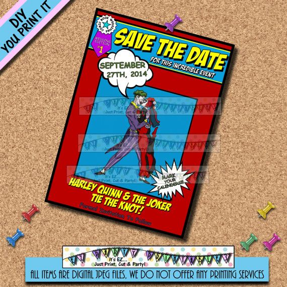 Comic Book Wedding Invitations: SAVE THE DATE Joker And Harley Quinn Comic By