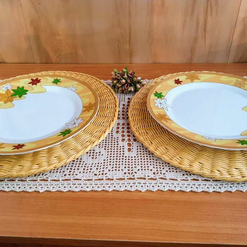 Wicker Charger Plate For Table Decorating Rustic Wedding Table Charger Plates Round Pla Rustic Wedding Table Decor Lemon Kitchen Decor Easter Table Decorations
