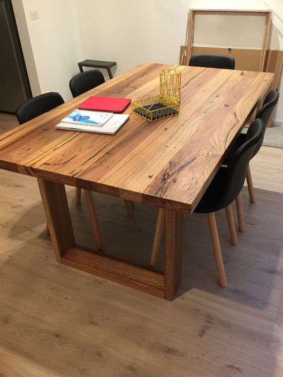 Solid Recycled Timber Dining Table With Box Legs Made Of Locally