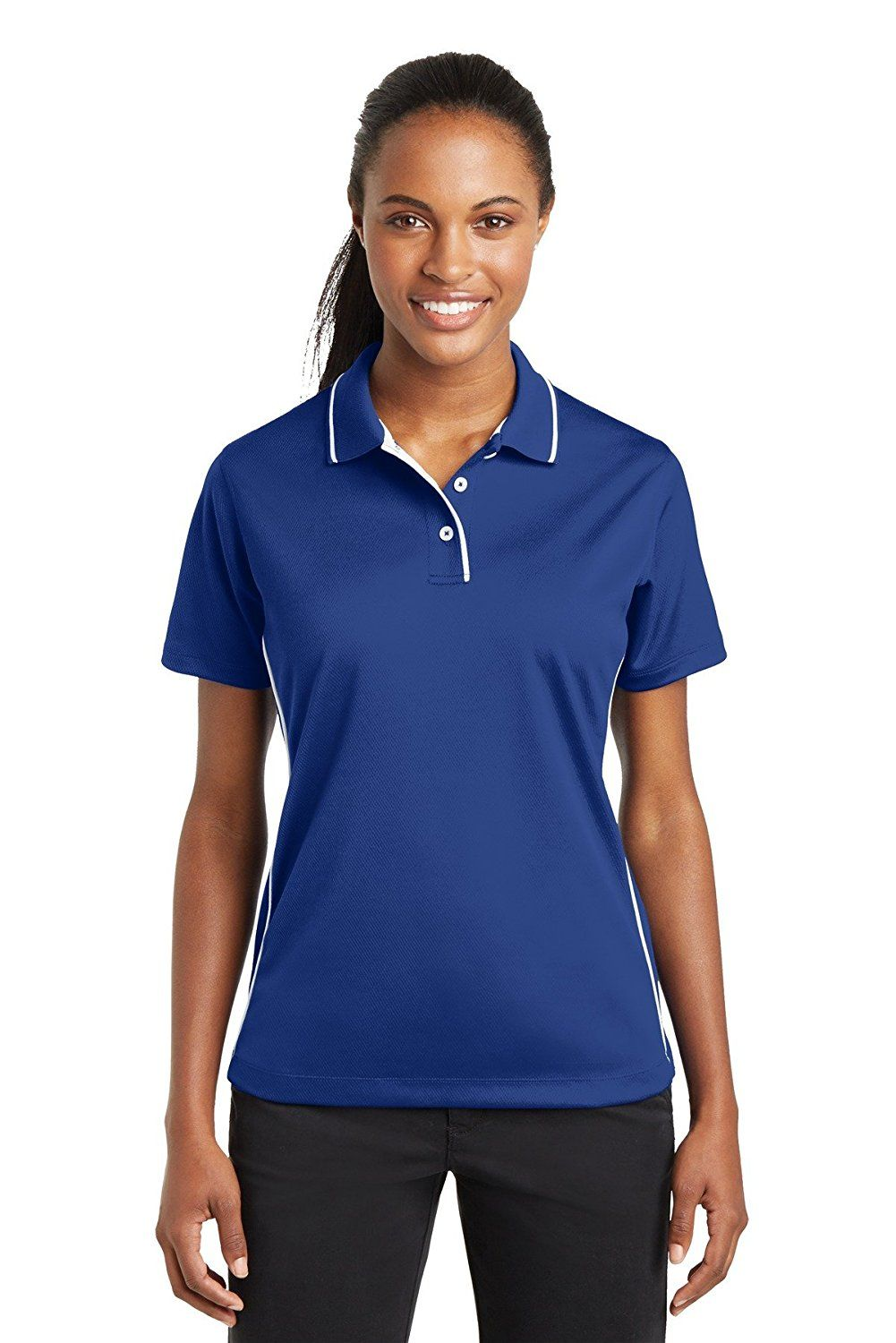SportTek Women's Dri Mesh Polo with Tipped Collar and