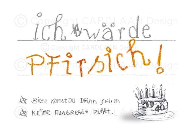 Einladung 40. Geburtstag (Pfirsich)