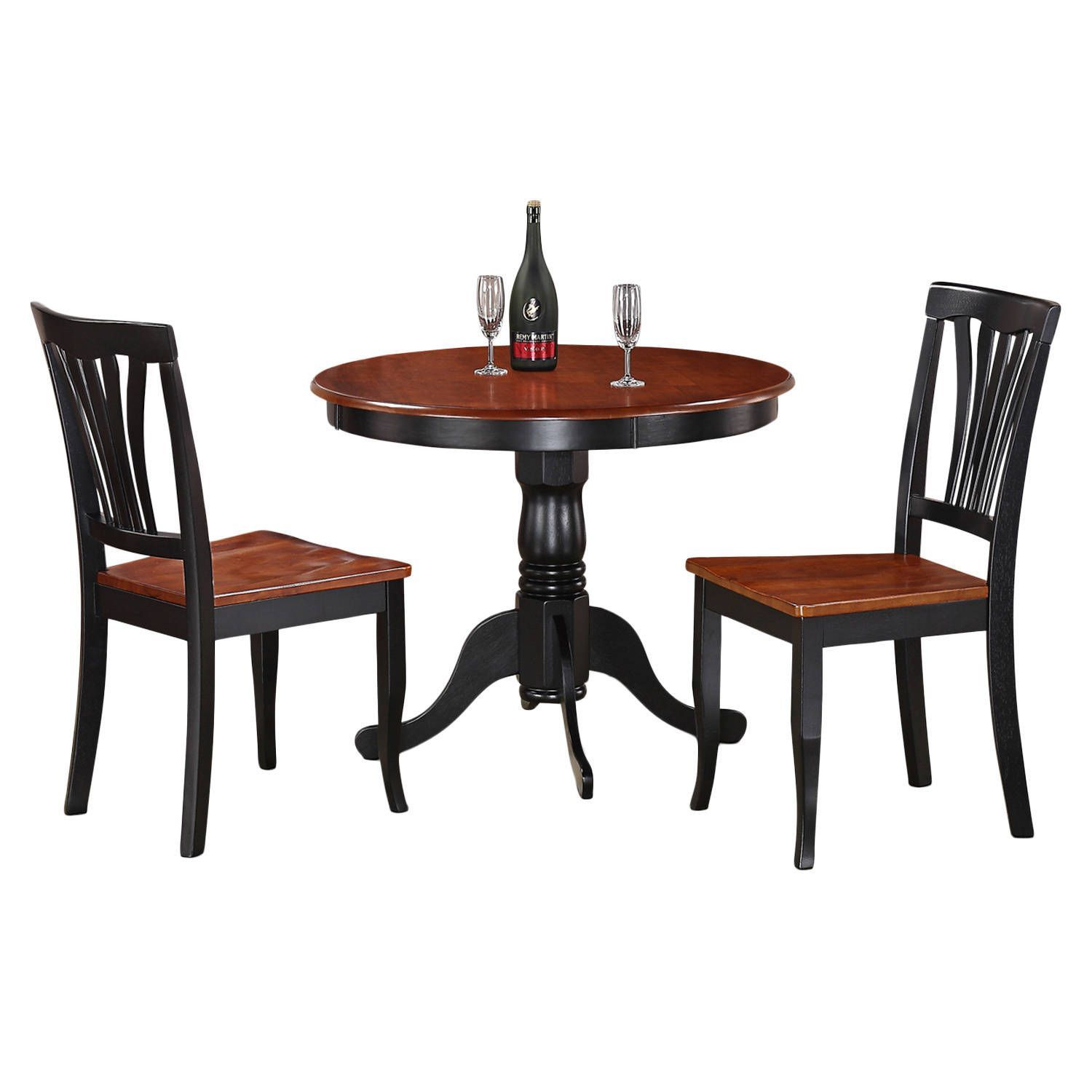 3 Piece Kitchen Nook Dining Set Small Kitchen Table And 2 Kitchen Chairs  (Black Finish   Black/Cherry), Size 3 Piece Sets