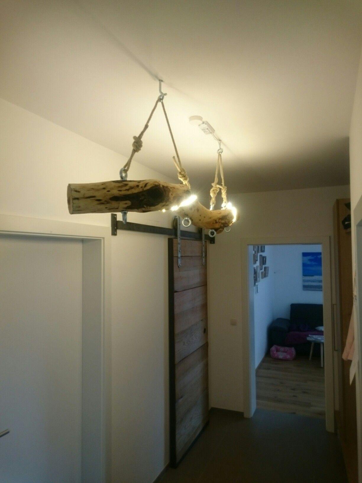 Eschenholz Mit Led Leiste Umwickelt Boomstam Woodlamp