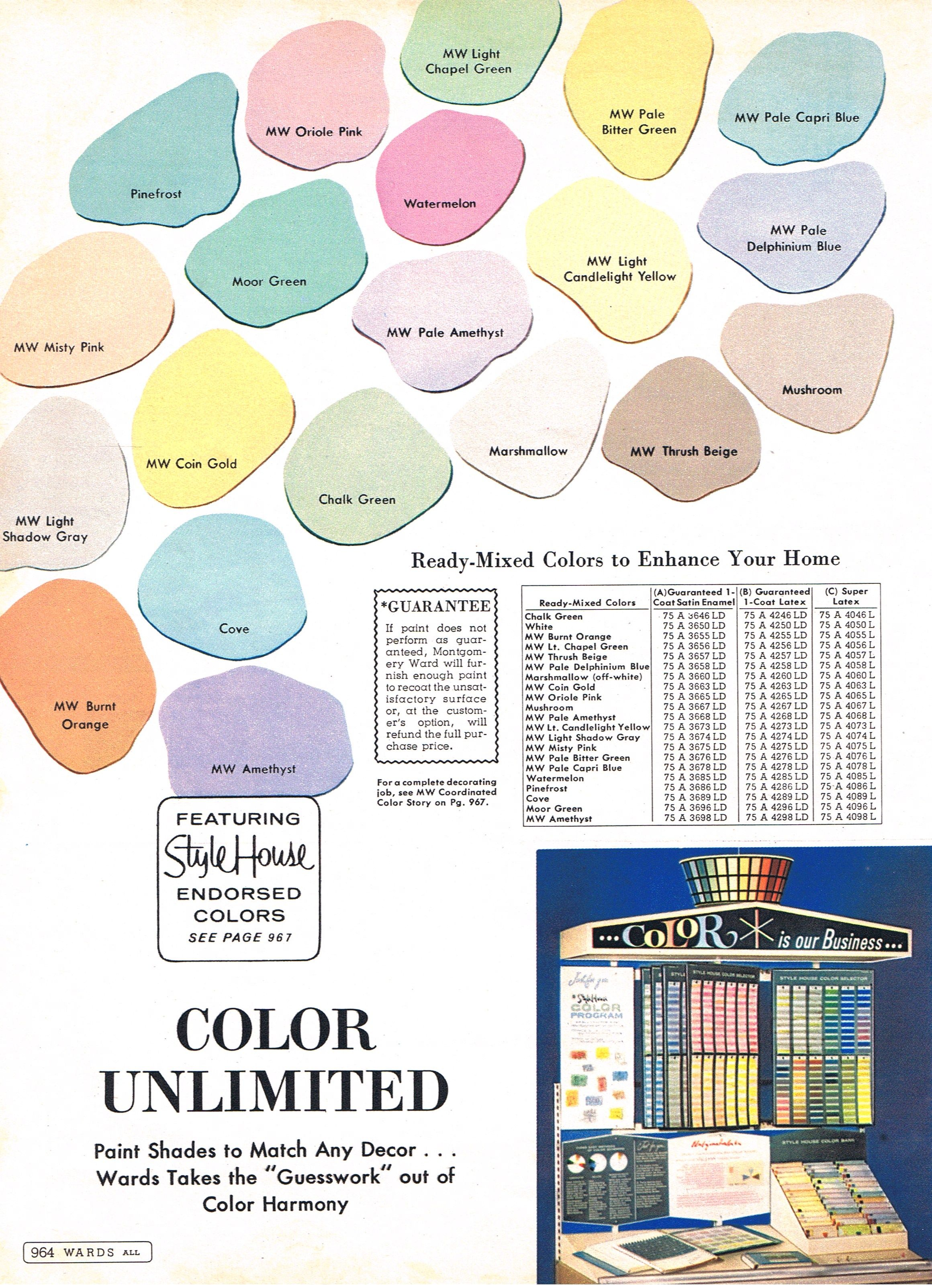 Mcm Paint Colors Montgomery Ward 1964 The Mid Century