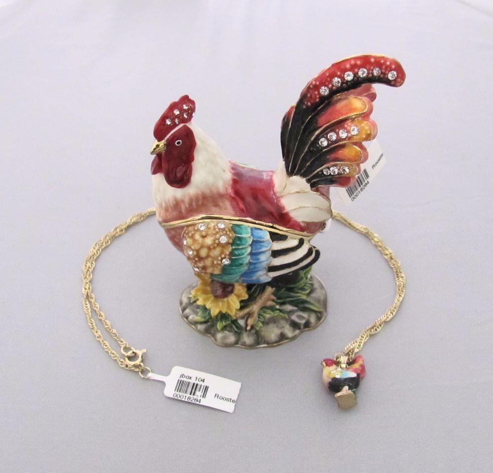 New Trinket Box Gift Swarovski Crystals Rooster Animal Necklace