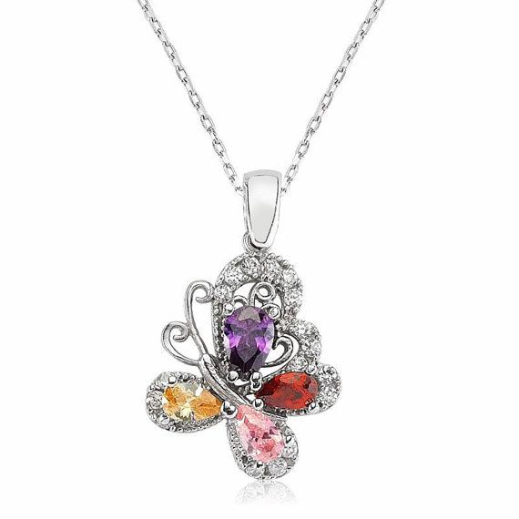 Butterfly Necklace, Christmas Necklace 925 Sterling Silver Filled