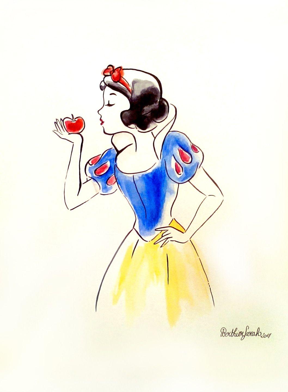 Dessin peinture Blanche neige Disney, aquarelle effet croquis