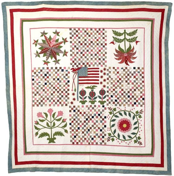 Antique American Pieced And Appliqu 233 D Quilt 1863 Civil