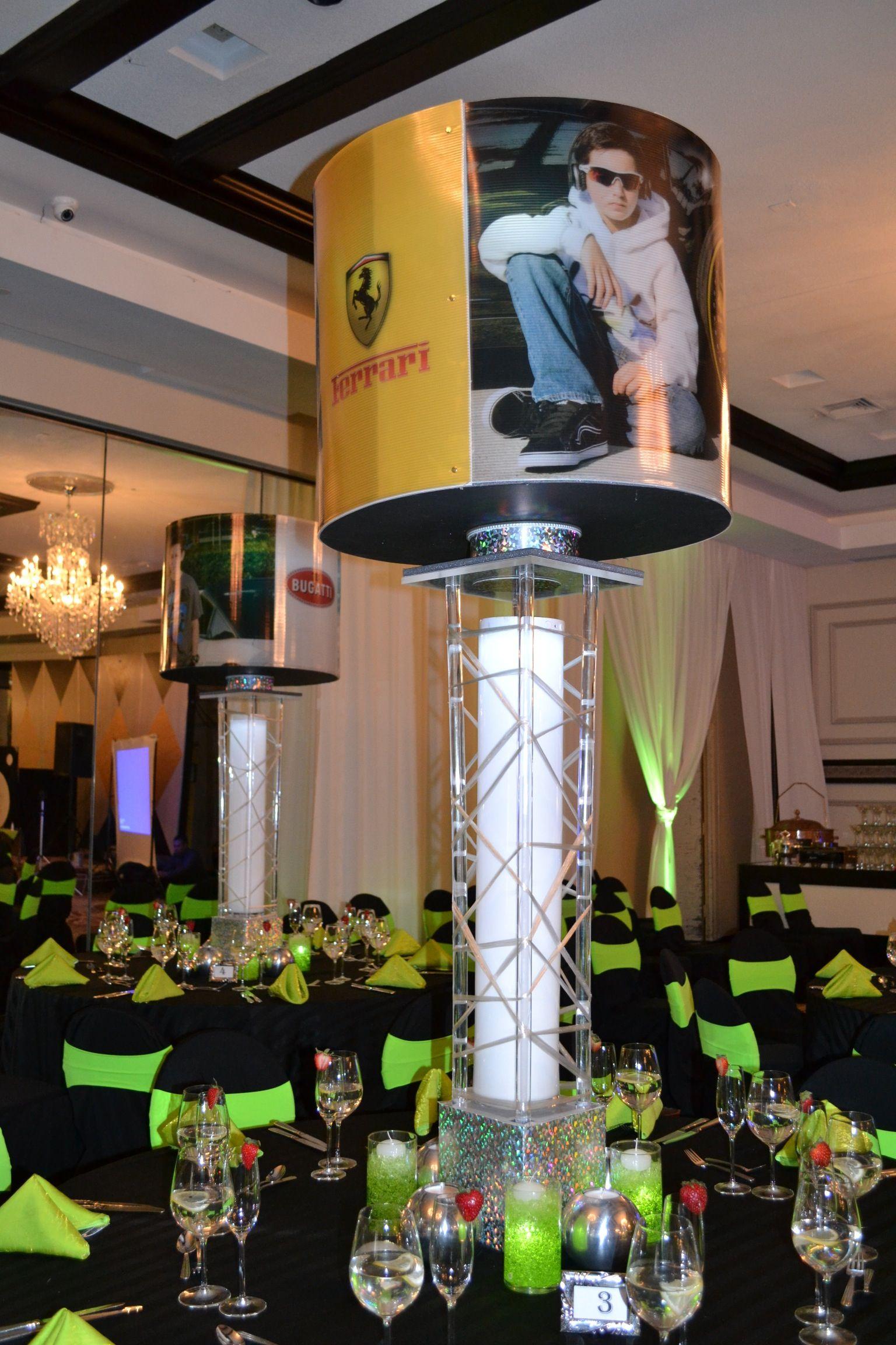 Car Theme Bar Mitzvah Event Decor Spinning Centerpieces ...