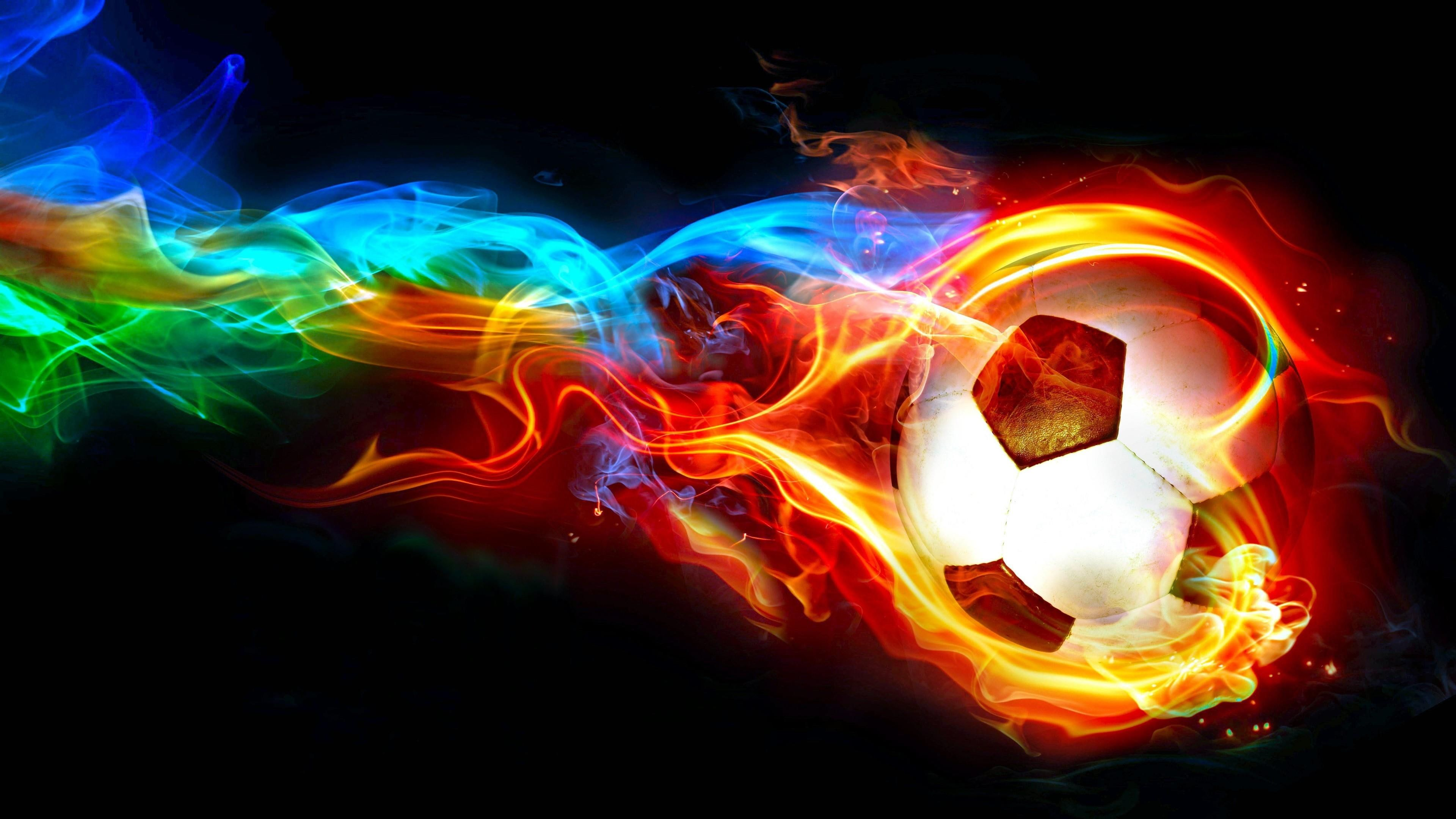 Soccer Ball Flame Football Ball Fire Graphics Darkness Colorful Multicolor Cool Digital Art Design S Football Wallpaper Soccer Ball Sports Wallpapers