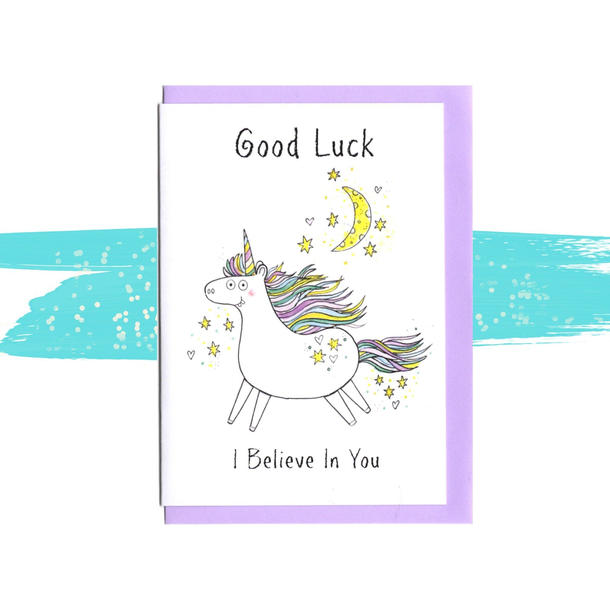 Good Luck Unicorn Card I Believe In You Friendship Support