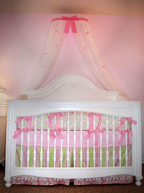 Crib Canopy Nursery Crown Candy pink with Petite bows INCLUDES white sheers & Crib Canopy Nursery Crown Candy pink with Petite bows INCLUDES ...