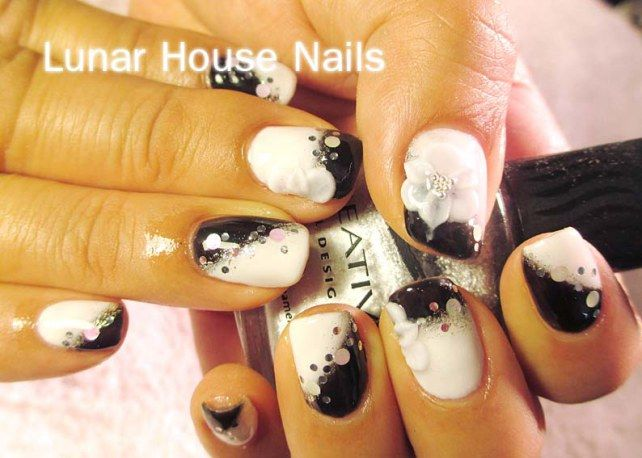white gel nails with black | Base – Soak Off Gel Nails (Black & White) … $40.00
