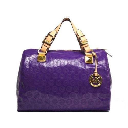 michael kors logo print large purple satchels designer handbags rh pinterest co uk